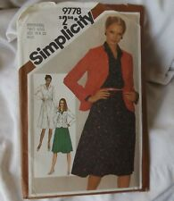 Simplicity 9778 Ladies Pullover Flared Dress & Jacket Size 18 20 Sewing Pattern