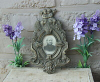 Rare antique French spelter Gothic satyr cherub angels wall picture frame