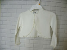 Girls Rare Editions Ivory Cropped Sweater Size Small One Button Ruffle Trim
