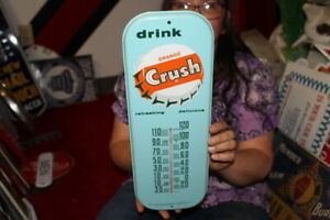 Vintage 1950's Orange Crush Soda Pop Metal Thermometer Sign NICE