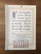 ANTIQUE OCTOBER 1924 CALENDAR OSBOLDSTONE CO MELBOURNE PRINTER VINTAGE CARD