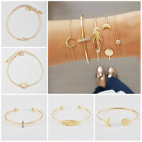 Charm Moon Star Crystal Hand Chain For Women Open Bangle Bracelet Set Jewelry