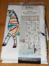 SKL Saturday Knight Safari Kids Shower Curtain 70 x 72 Hippo Zebra Giraffe Lion