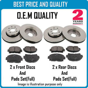 FRONT AND REAR BRKE DISCS AND PADS FOR FIAT OEM QUALITY 2927201531742180
