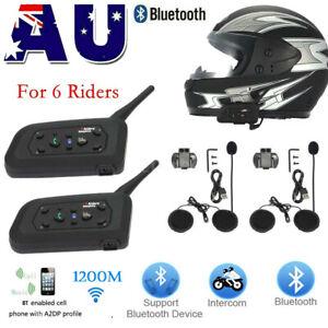 2X BT Intercom V6 1200M Motorcycle Bluetooth Helmet Interphone Headsets 6 Riders