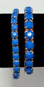 Vintage Set of 2 Stretch Bracelets Blue Facetted Acrylic Beads on Gold Setting
