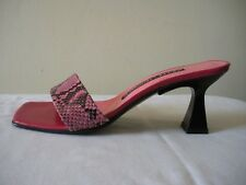SEXY~! $510 LUCIANO PADOVAN Pink Snake Mules Sandals Slides Shoes ITALY  7.5M