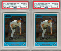 "{LOT 2} 2007 Bowman Chrome Draft ""Clayton Kershaw"" RC ""On Fire"" PSA 9s HOT! HOT!"