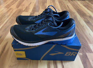 Brooks Mens Ghost 10 Running Shoes Blue and Black Size 10 D Mint with Box