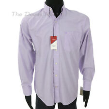 IZOD Men's MEDIUM Button Front LIGHT PURPLE SHIRT Button Down Collar POPLIN