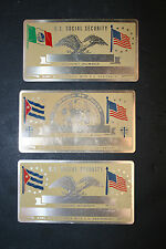 Lot of 3 Vintage 8600A Metal U.S. Social Security ID Tags Mexico Cuban