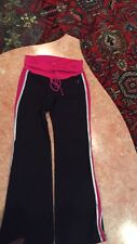 PH8 BY BEBE SPORT FOLD OVER  Women's ATHLETIC BLACK AND PINK PANTS SIZE S