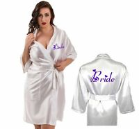 Personalised Long SILKY Wedding Robe / Dressing Gown 3 Lengths Bride Bridesmaid