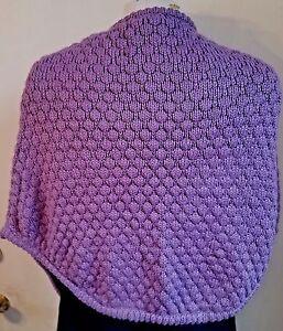 "Lavender Shoulder Shawl Knit 100% Acrylic SONTAG ""Hug-Me-Tight"" Shawl- Pockets"