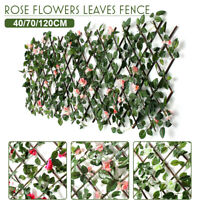 Expandable Garden Screen Fencer Atificial Ivy Leaf Panels Roll Hedge Faux Flower