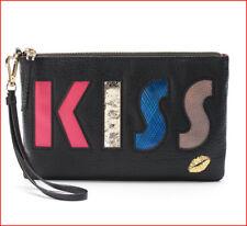 Juicy Couture Designer KISS WRISTLET Clutch Purse - Black Faux Leather 🌟NEW🌟