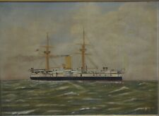 1896 W Williams Steamship at Sea Victorian Oil on Canvas Signed In Gilt Frame