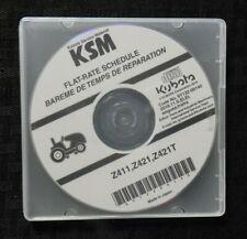 GENUINE KUBOTA Z411 Z421 Z421T LAWN TRACTOR FLAT RATE SCHEDULE MANUAL CD