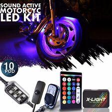 Motorcycle H.D LED Neon Under Glow Lights Pod Kit For Kawasaki Ninja Brake Mode