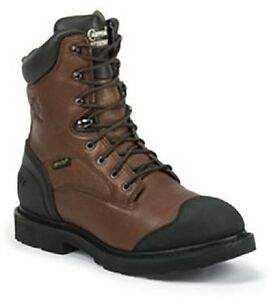 """New Chippewa Men's 8"""" Heavy Duty Oiled Waterproof Lace-Up Utility Boot Brown 14"""