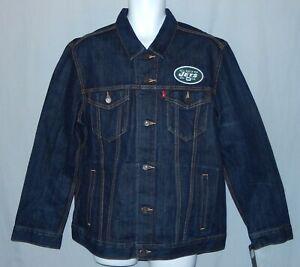 New Mens Levis NFL New York Jets Trucker Jacket Denim Size XL Blue