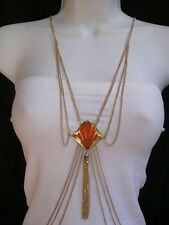 New Women Gold Body Chain Jewelry Long Necklace Red Sea Shell Pendant Tassel