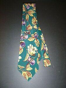 Hugo Boss Silk Tie with Rich Florals Greens Berries