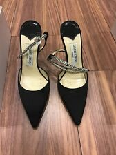 Jimmy Choo Black Satin Shoes with crystals £430 Size 5 38