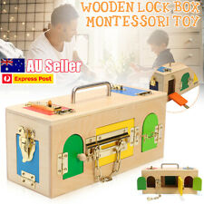Wooden Montessori Practical Educational Toy Life Little Lock Box For Kids Baby