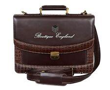 5996 Brown Crocodile Print Mesenger Shoulder Laptop Office Briefcase Leather Bag