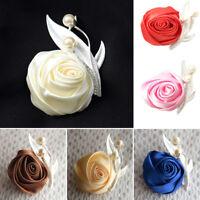 Artificial Silk Rose Flower Wedding Party Boutonniere Groom Best Man Corsage 34C