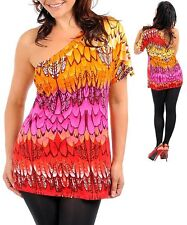 N02 -3X(18/20)- Pink/Red/Orange One Shoulder,Multi Colored,Stretch Blouse,Top