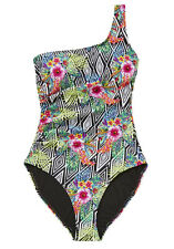 BNWT F&F Tropical Print One Shoulder Swimsuit 8 All in One Swimming Suit