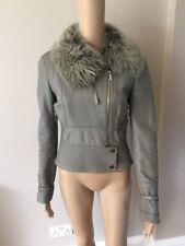 Women's Karen Millen Grey biker leather jacket size 10 (will Also Fit 8) UK