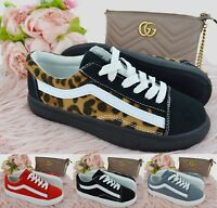LADIES WOMENS LACE UP CANVAS FITNESS RUNNING SPORT GYM FLAT TRAINERS SHOES SIZE