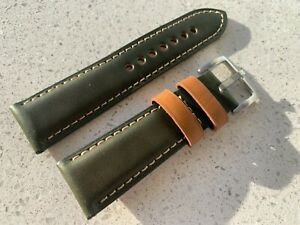 24mm horween shell cordovan leather Green watch 🇬🇧 strap handmade Marlinwatch