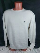 Vtg Polo Ralph Lauren Knit Sweater Sz Large White Cotton