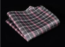 Silk Pocket Square Gray Checkered Striped Handkerchief