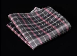 Silk Pocket Square Gray Checkered Striped Handkerchief for Wedding