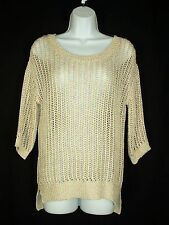 Olive & Oak Ivory Metalic Shine Multicolor Open Weave Sweater S