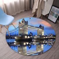 3D Tower Bridge Britain 5 Non Slip Rug Mat Room Mat Round Elegant Photo Carpet