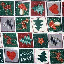 Patchwork de Navidad 100% tela de algodón con estampado de árboles & Reno (por Metro)