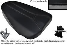 GREY & BLACK CUSTOM FITS APRILIA TUONO 125 REAR PILLION LEATHER SEAT COVER