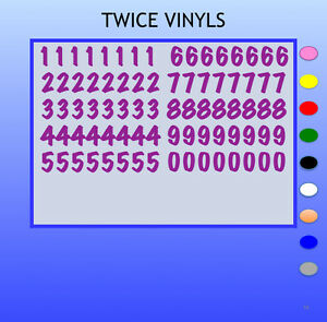 STICKY NUMBERS 0 to 9 MARKER FELTPEN 20mm OR 25mm high vinyl set - any colour