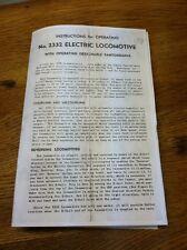 Vtg Copy Lionel Electric Train Locomotive No 2332 Operating Instructions Manual