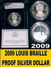 2009 Silver Proof Louis Braille Dollar W/Sleeve & Certificate Of Authenticity