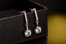 """Jewelry Charm Sterling Silver Plated AAA Cubic Zircon Drop Dangle Earrings 0.86"""""""