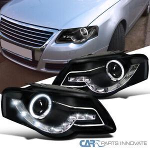 For 06-10 Passat B6 Halo LED Strip Projector Black Headlights Head Lamps Pair