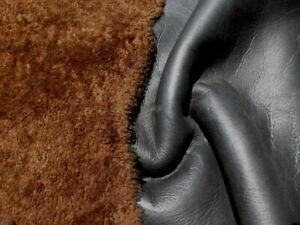 sheepskin shearling leather fur hide Large Tobacco Brown w/black grainy back