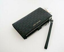 Michael Kors Jet Set Travel Large Double Zip PVC Leather Phone Wristlet MK Black